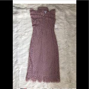 Bar Ill V-neck Cap Sleeve Lace Choker A-line Dress